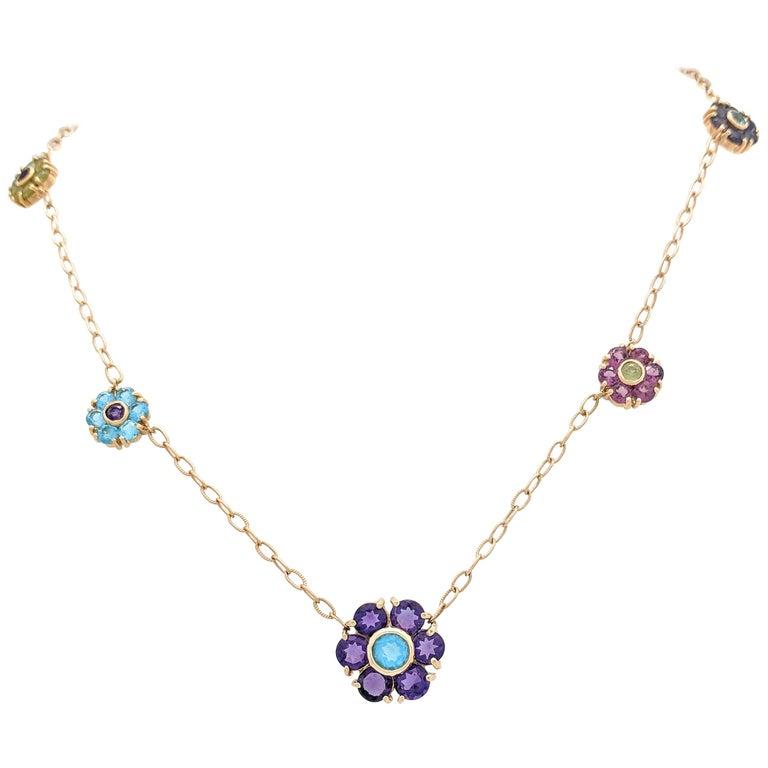 14 karat yellow gold multi gemstone flower necklace for sale at 1stdibs 14 karat yellow gold multi gemstone flower necklace for sale mightylinksfo