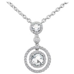 Rose Cut Diamond Halo Pendant Necklace with Diamonds by the Yard Chain