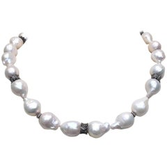 Large Baroque White Pearl Necklace with Diamond and Oxidite Silver Dividers
