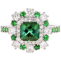 2.33 Carat Tsavorite and Diamond 18 Karat White Gold Engagement Ring