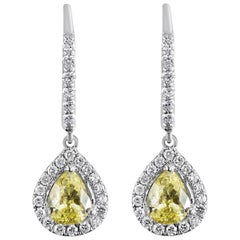 Fancy Yellow Pear Shape Diamond Halo Dangle Earrings