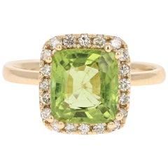 3.33 Carat Peridot Diamond Engagement Yellow Gold Ring