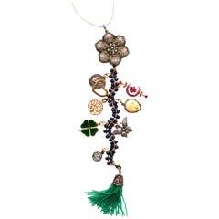 Clarissa Bronfman Lapis,Emerald,Ruby,Diamond 'Mellow Drama' Symbol Tree Necklace