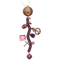 Clarissa Bronfman Diamond, Amethyst, Ruby 'Voo Doo' Symbol Tree Necklace