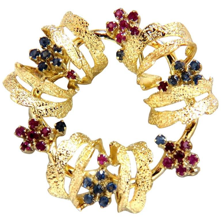 18 Karat Circle Wreath Sapphire Ruby Pin 3D