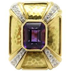 Estate Vintage Antique 18 Karat Yellow Gold Amethyst and Diamond Ring