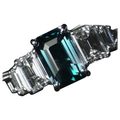 Alexandrite and Diamond Engagement, Cocktail Ring, 4.59 Carat TW