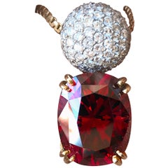 21.60 Cushion Red Rhodolite Garnet Pendant