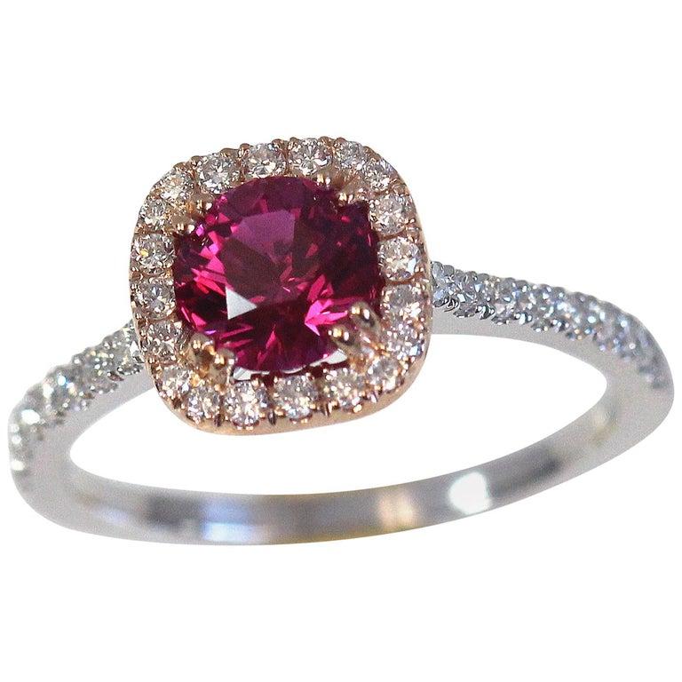 1.20 Carat Round Ruby and Diamond Ring