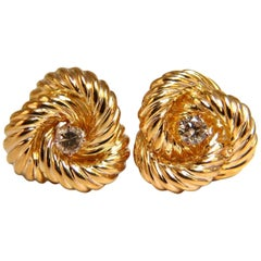 .80 Carat Fancy Light Brown Diamond Clip Earrings 14 Karat Wrap Love Knots