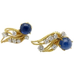 Estate Vintage 18 Karat Yellow Gold Sapphire Cabochon and Diamond Earrings