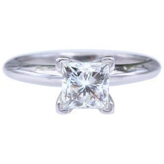 Leo Diamond Engagement Ring Princess 0.95 Carat I VS1 14 Karat Gold Certificates