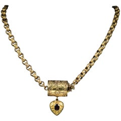 Antique Georgian Necklace 18 Carat Gold Garnet Heart Pendant, circa 1800