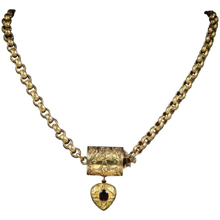 Antique Georgian Necklace 18 Carat Gold Garnet Heart Pendant, circa 1800