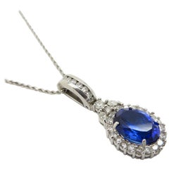 Estate 14 Karat Gold Oval Tanzanite and Round Diamond Pendant Necklace Chain