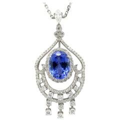 Gorgeous Estate 18 Karat White Gold Tanzanite and Diamond Chandelier Necklace