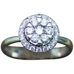 0.45 Carat Diamonds White 18 Karat Gold Dome Engagement Ring, Italy, 2010s