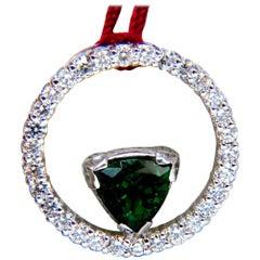 1.55 Carat Natural Tsavorite Diamonds Circle Pendant 14 Karat