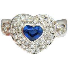 1.67ct 14 Karat Natural Fine Gem Heart Sapphire Diamond Ring 3D Dome Like