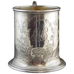 Antique Victorian Silver Tankard, Chinoiserie Engraving, Hallmarked London 1888