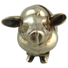 Contemporary Modern Sterling Silver Pig Vesta Case, Imported in Birmingham
