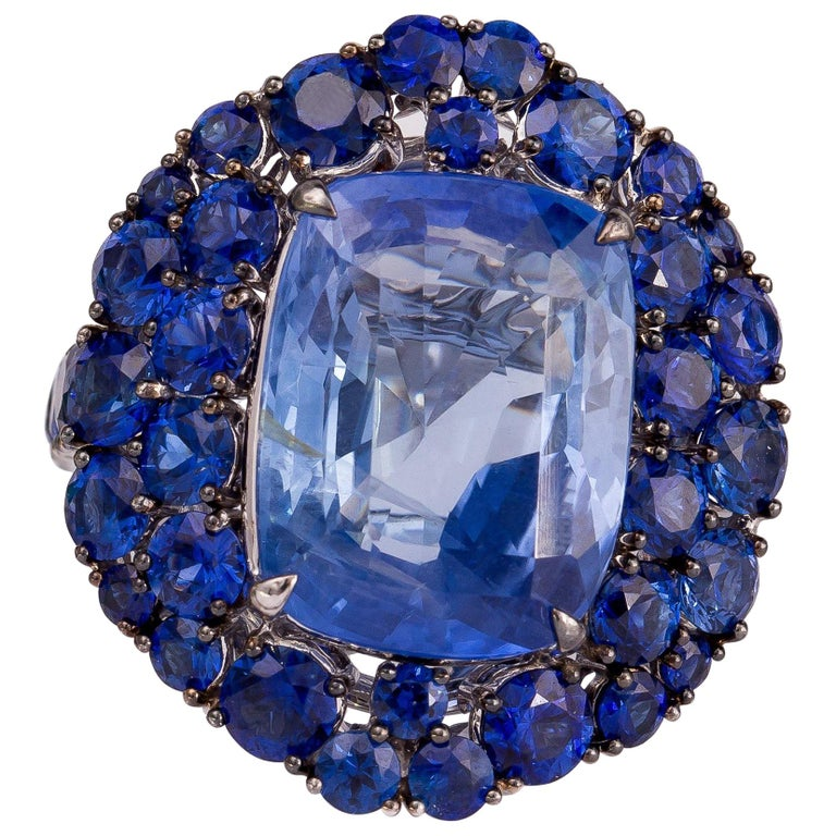 GRS Certified 22.14 Carat Unheated Burmese Sapphire and Diamond Cocktail Ring