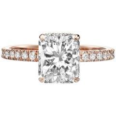 2.50 Carat Radiant Cut Diamond Engagement Ring on 14 Karat Rose Gold