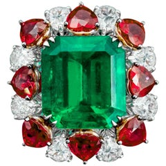 GRS Certified 17.26 Carat Emerald, Ruby and Diamond Cocktail Ring