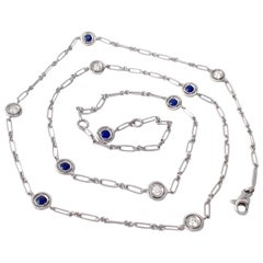 Gemstone White Diamond Blue Sapphire 18 Karat White Gold Necklace