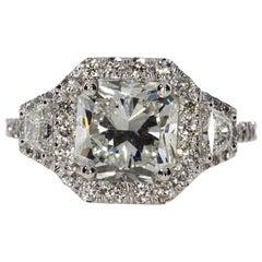 3.53 Carat Radiant Cut Diamond Engagement Ring on 18 Karat White Gold