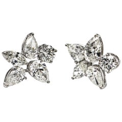 3.31 Carat Star Cluster Diamond Earrings