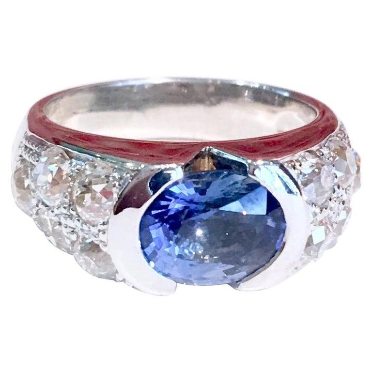Ceylon Sapphire Diamonds 18 Karat White Gold Band Ring