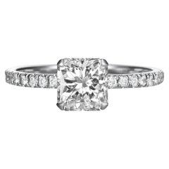 1.70 Carat Radiant Cut Diamond Engagement Ring on 18 Karat White Gold