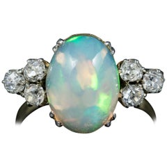 Antique Edwardian Opal Diamond Ring 18 Carat Gold, circa 1910