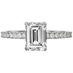 2.05 Carat Emerald Cut Diamond Engagement Ring on 18 Karat White Gold