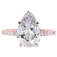 3.65 Carat Pear Shaped Diamond Engagement Ring on 14 Karat Rose Gold