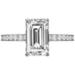2.55 Carat Emerald Cut Diamond Engagement Ring