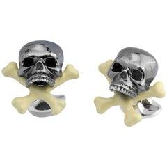 Deakin & Francis Sterling Silver Skull and Cross Bone Cufflinks