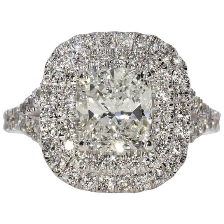 3.05 Carat Cushion Cut Diamond Engagement Ring