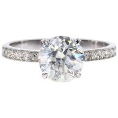 2.25 carat Round Cut Diamond Engagement Ring On Platinum