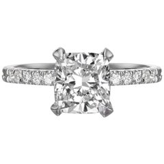 1.61 Carat Cushion Cut Diamond Engagement Ring on 14 Karat White Gold