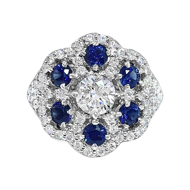 Diamond Lace Sapphire Ring For Sale