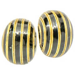 David Webb 18 Karat Yellow Gold Enamel Earrings