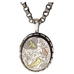 Victorian Silver and Gold Aesthetic Locket with Chain