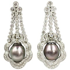 3.67 Carat of Diamonds and Tahitian Pearls Platinum Chandelier Earrings