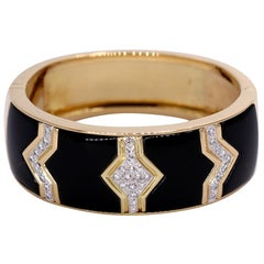 Wide Gold Geometric Design Bracelet with Pave Set Diamonds
