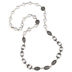 South Sea Pearl Brown Diamond Gold and Silver Long Chain Necklace