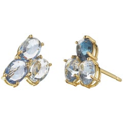 18 Karat Yellow Gold Blue Sapphire, 3.41 Carat Ombré Stud Earring Set