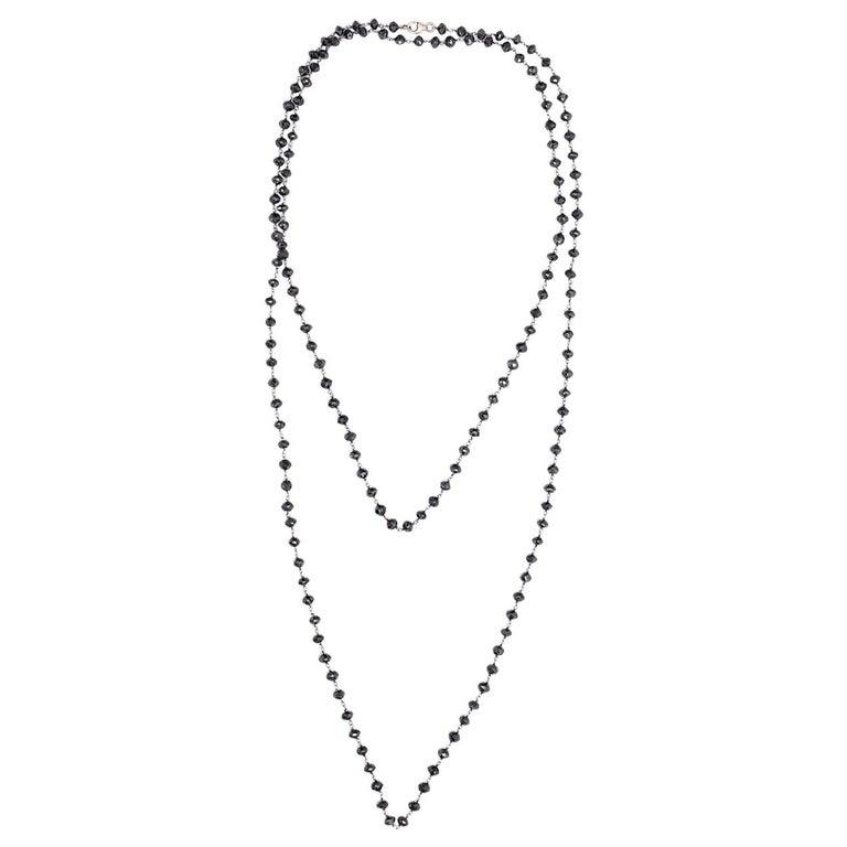 87 Carat Black Diamond Bead Long Gold Chain Necklace