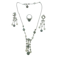 18 Karat Gold Pearl and Diamond Necklace Ring and Earrings Suite by Bulgari